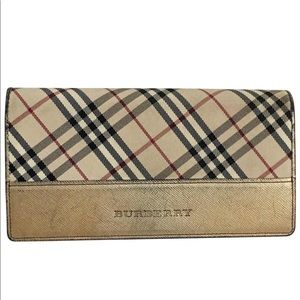 Authentic BURBERRY gold long wallet